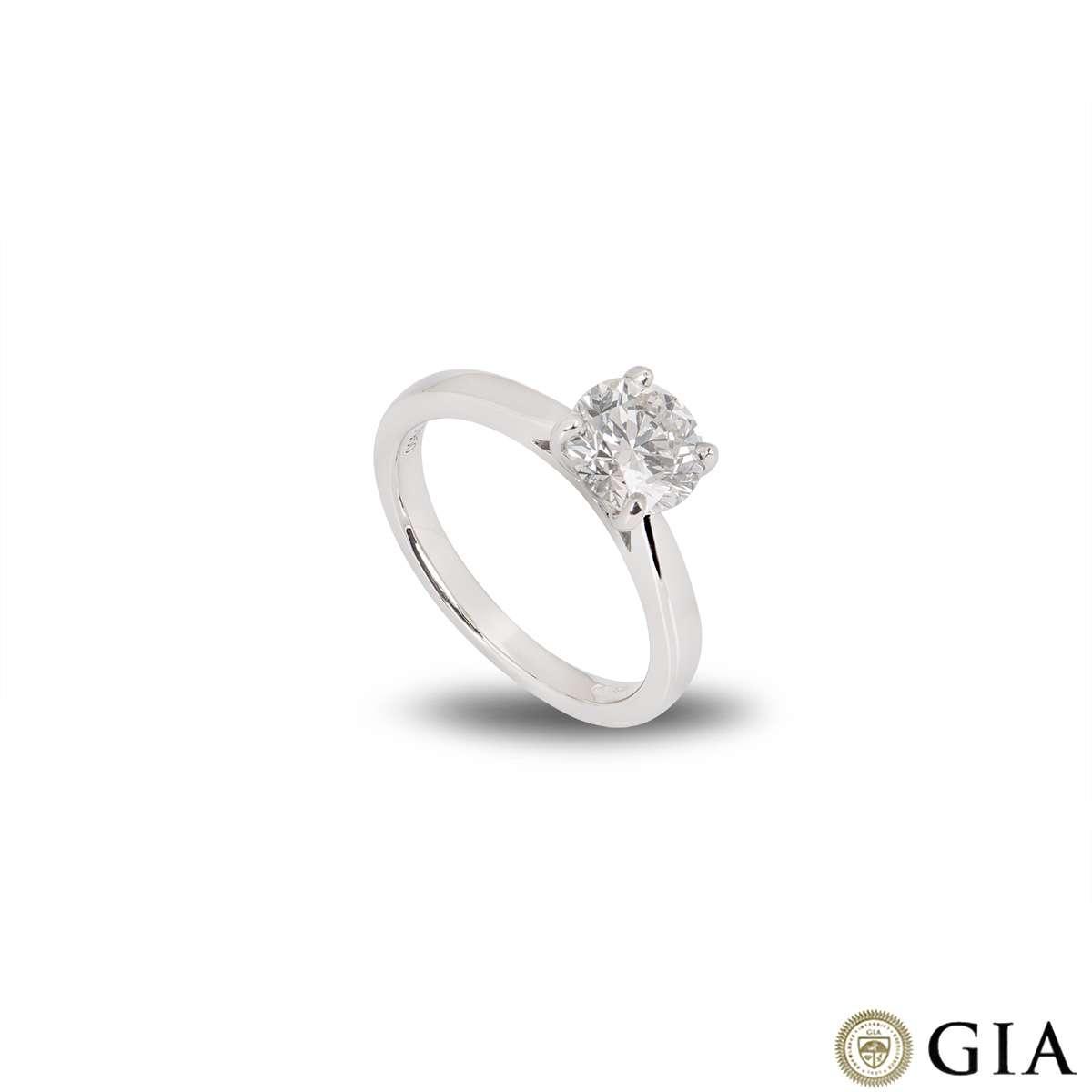 Platinum Round Brilliant Cut Diamond Ring 1.30ct G/SI1 XXX